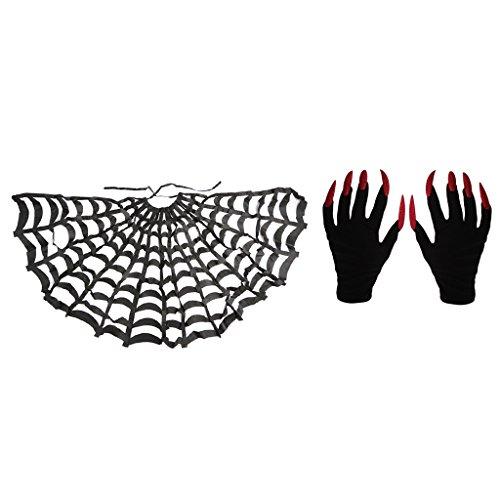 Imagen de gazechimp capa de telaraña negra accesorio de disfraz para fiesta de noche de adultos +1 par guantes de miedo mujer asustadiza uñas largas de rojo tema