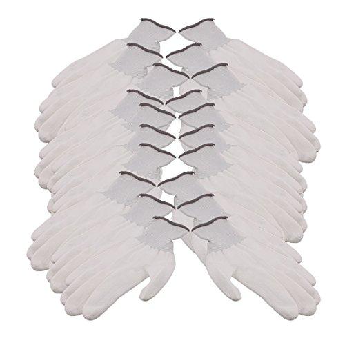sourcingmap® 10 Paar 13 Nadeln Nylon Arbeits schutz Anti-statische Rutschfeste Handschuhe Grau Weiß de -