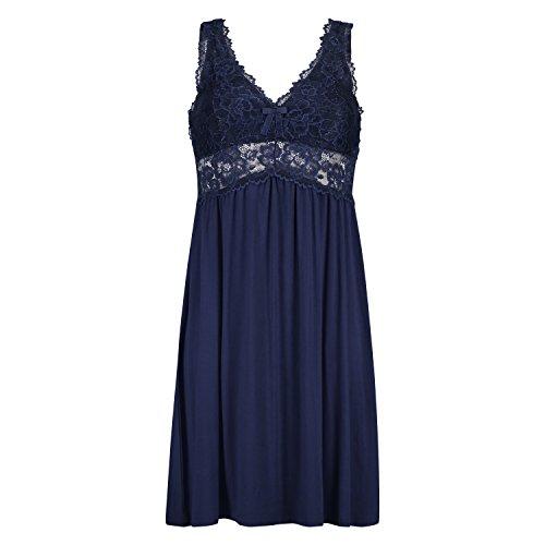 Hunkemöller Damen Slipdress Modal Lace Blau 2XL138197