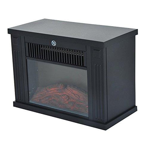 Homcom – camino elettrico da terra potenza 600w / 1200w in plastica e vetro temperato 34 ×17 × 25cm nero