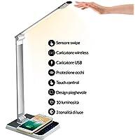 Lampada Scrivania con Sensore Swipe, Lampada da Tavolo 96 Led SAFEx, Caricatore Wireless+USB; 10 Livelli di Luminosità Touch Control; 18W (Protezione Occhi) con 3 Tonalità di luce.