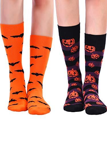4 Paar Halloween Socken Halloween Crew Socken Baumwollsocken Pumpkin Bat Paar Socken für Männer und ()