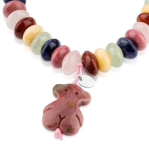Imagen de tous pulsera elástica de mujer multicolor. rodonita, gemas y plata de primera ley  largo 16 cm alternativa