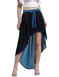 TEXCO Women High-Low Front Tie-up Belt High-Low Skirt