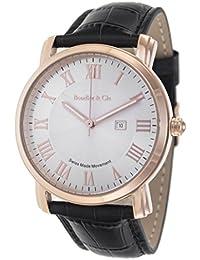 Boudier & Cie BC15SA4 - Reloj de Cuarzo Analogico con movimiento Suizo para hombre, Esfera blanca, Carcasa dorada, Correa de Cuero negro