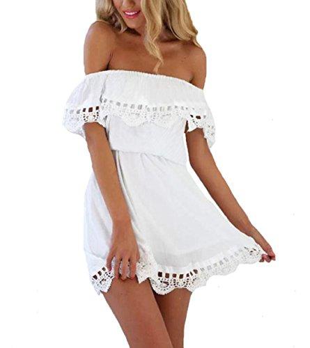 ZhiWanTing Damen Sommerkleid Strand Schulterfreie Kleid mit Spitze Partykleid Weiß L