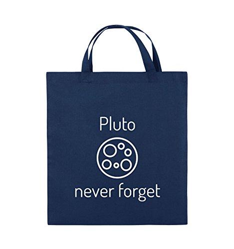 Borse Comiche - Pluto Mai Dimenticare - Borsa In Juta - Manico Corto - 38x42cm - Colore: Nero / Rosa Navy / Bianco
