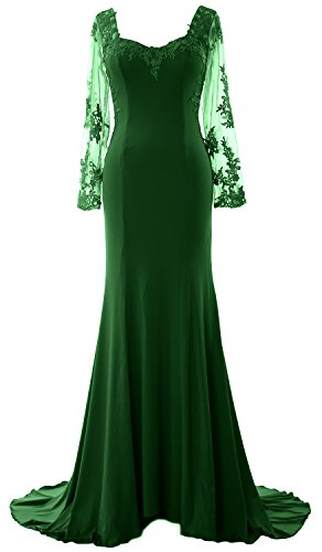 MACloth Women Long Sleeve Mermaid Lace Jersey Formal Prom Dress Evening Gown Dunkelgrun