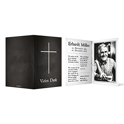 100 x Trauer Dankeskarten Danksagung Danksagungskarten Trauerkarten individuell - Bibel Look