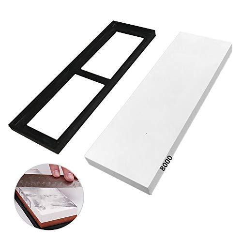 DKEyinx Weißer Korund-Schleifstein mit 8000er Körnung, mit weicher Silikonschärfebasis, für Küchenmesser, Präzisionswerkzeug, Sushi-Messer, Obstmesser Weiß