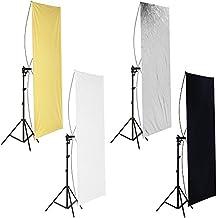 Neewer - Pannello piatto 90 x 180 cm, per riflettere le luci dello studio fotografico, con supporto rotante a 360gradi e borsa da trasporto–oro/argento e nero/bianco