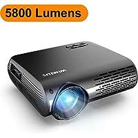 Vidéoprojecteur, WiMiUS 5800 Lumens Vidéo Projecteur Full HD 1920x1080P Natif Rétroprojecteur Supporte 4K avec Réglage Digital 70,000 Heures Projecteur LED pour Home Cinéma & Présentation d'affaires