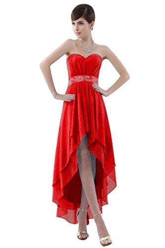 beauty-emily Trägerlos Asymmetrisch Maxi Formale Formelle Brautjungfer Kostüm Rot - Rot