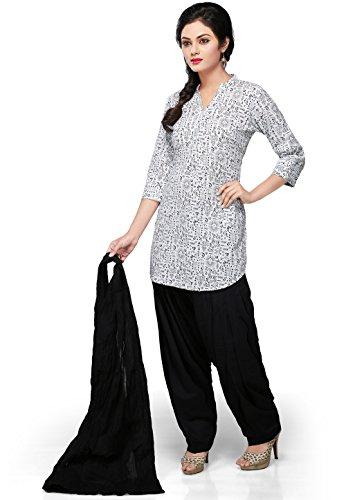 Vastra Vinod White Cotton Readymade Patiala Suit