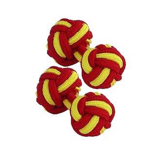 & jaune rouge Boutons de manchette de noeud