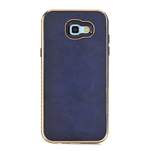 EKINHUI Case Cover Ultra Thin und leichte Retro verrückte Pferd Leder Skin Dual Layer PC + TPU Hybrid Shell Cover Case [Shockproof] für Samsung Galaxy A5 2017 und A7 2017 ( Color : Yellow ) Blue