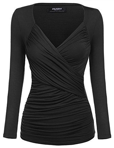 Zeagoo Damen V-Ausschnitt Langarmshirt Tunika Bluse Obertail T-Shirt mit Rüschen,schwarz, L