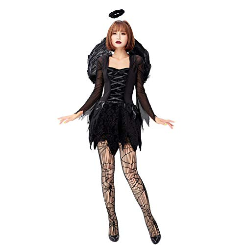 Kostüm Engel Teufel Und Hunde - AIXIAOYU Halloween Adult Cosplay Engel und Teufel Kostüm Schwarz Mesh Kleid