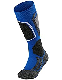 FALKE calcetín de esquí infantil SK 2 Kids, otoño/invierno, infantil, color Azul - azul y gris, tamaño 27-30
