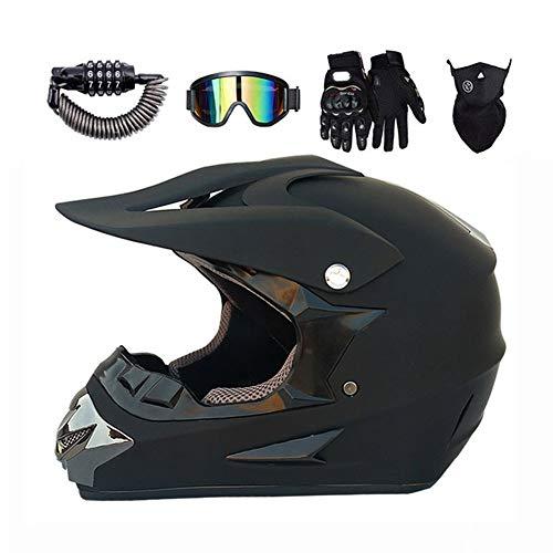 LEENY Motocross-Helm, Motorrad Sports Off-Road DH Enduro ATV-Helm Quad Motorradhelm für Männer Damen, Herren Motorräder Cross-Helm Sets mit Brille, Maske, Handschuhe, Schloss, Schwarz,M