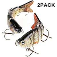 Scotamalone Fishing Lures, Fishing Baits, 2 Pack, 6 Segments, Tackle 6# High Carbon Steel Anchor Hooks, Lifelike Multi-Jointed Artificial Swimbait, Hight Quality Hard Bait, Fishing Hooks, 10cm/19g