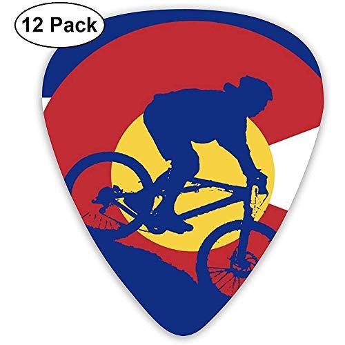 Mountainbiking Colorado Flag Stilvolle bunte Plektren 12 Stück, einzigartiges Geschenk für Ihre E-Gitarre