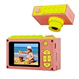 ShinePick Kinder Kamera, 8MP HD1080P 2 Inch Bildschirm Zoom Foto & Video Digitalkamera mit 2M Speicherkarte, DIY Aufkleber, Silikonhülle Videokamera Xmas Geburtstag Geschenke für Kinder (Rosa)