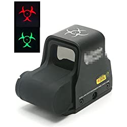 Worldshopping4U Airsoft Tactical Zombie 556 Red & Green Dot Sight Scope (Retour Switch) 20mm ajustement (Noir)