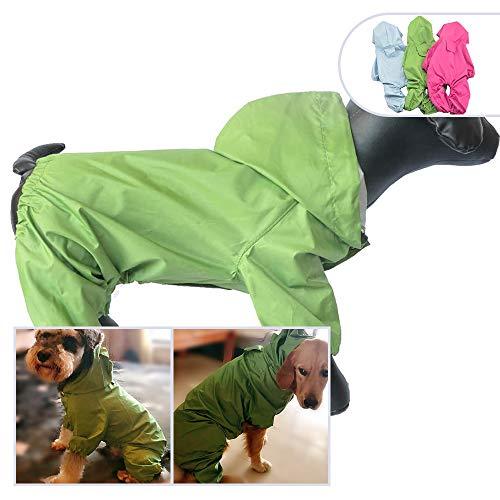 Haustier-Kostüme für Hunde, Regenjacke, wasserdicht, Nylon, 4 Beine, Haustier Regenmantel, Kapuzenpullover, ideal für kleine mittelgroße Hunde, Rassen, weiblich, männlich, für ()