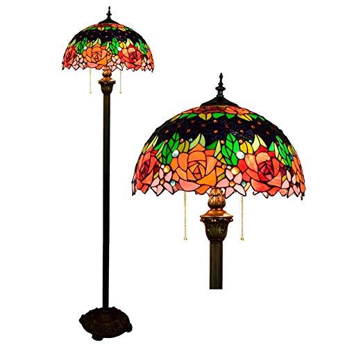 MTTK Rosa Flor lámpara de pie Estilo Tiffany 2 Luces vidrieras ...