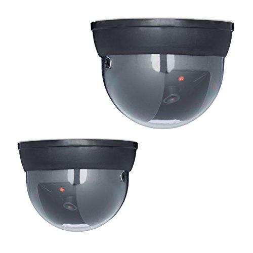 2 x Dummy Kamera im Sicherheits Set, Dome Kamera mit LED, verstellbarer Kamerawinkel, für außen und innen