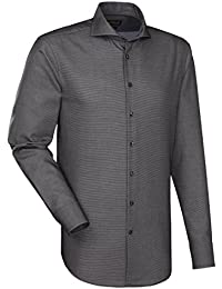 JACQUES BRITT Herren Hemd Custom Fit Brown Label Langarm Bügelleicht Uni / Uniähnlich Businesshemd Hai-Kragen Manschette weitenverstellbar