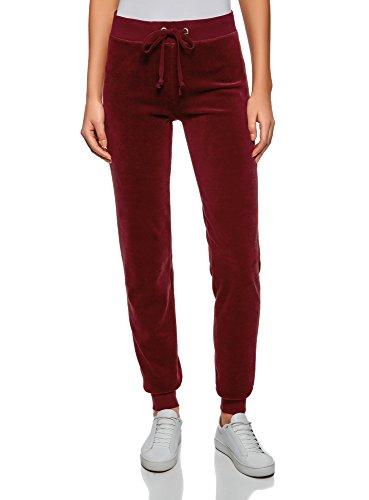 Oodji ultra donna pantaloni sportivi con laccetti, rosso, it 40 / eu 36 / xs