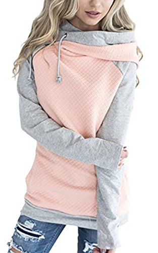 NeuFashion Womens Hoodies Long Sleeve Jumper Colorblock High Neck Sweatshirt Pullover Sweater Coat With Pocket