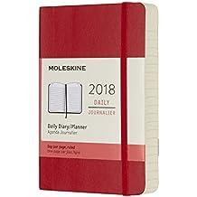Agenda diaria 2018 12 meses, de bolsillo, tapa blanda (color rojo)