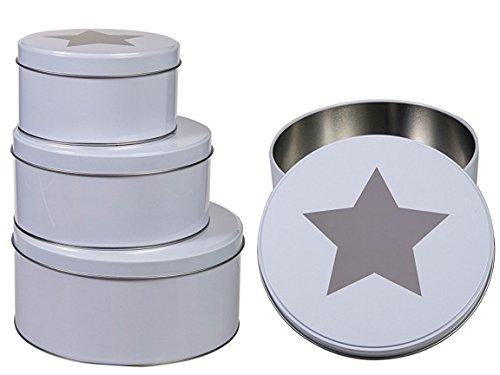 Bada Bing 3er Set runde Stern Metalldose WEIß Keksdose Plätzchendose Weihnachtsdose 22