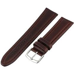 Hadley-Roma Men's MSM882RB-200 20-mm Brown Genuine Oil-Tan Leather Watch Strap