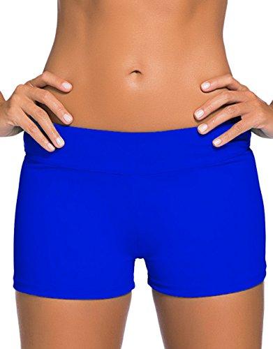 Lukis Damen Badehose Schwimmshorts Hotpants Wassersport Blau