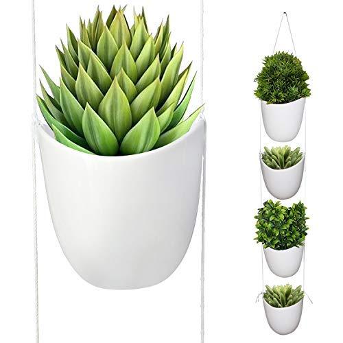 Kurtzy 4 pezzi vaso da appendere - piante da appendere in ceramica - supporti piante grasse con corda bianca - vasi da fiori ceramica interni ed esterni - vaso fiori giardino