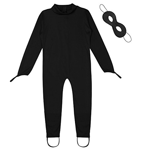 Freebily Kinder Junge Kostüm Schwarze Katze Outfits Bekleidungsset Langarm Strampler Overall Jumpsuit mit Augenmaske für Halloween Cosplay Party Schwarz 116-122/6-7 Jahre (Katze Kostüm Zubehör Halloween)