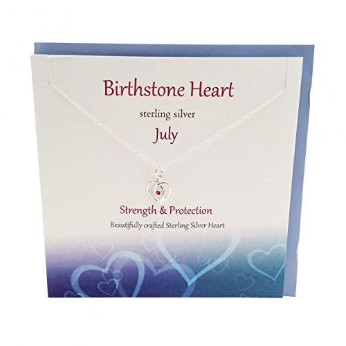 Geburtsstein Sterling Silber Herz Anhänger/Halskette Schmuck --- Juli --- Ruby von Sterling effectz