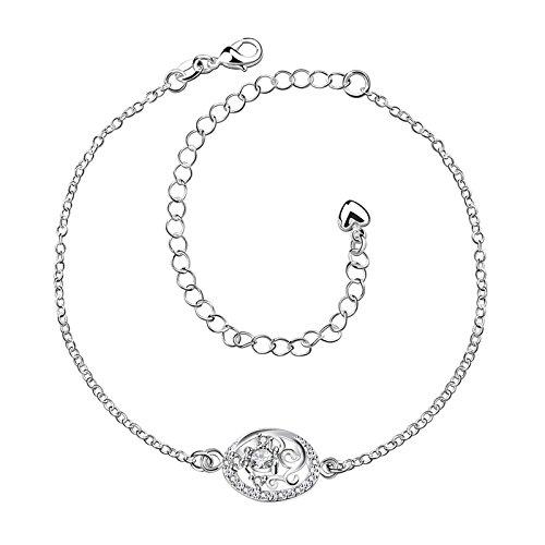 Bishilin Fußschmuck Damen Fußkette Boho Blume Weiß Zirkonia Knöchelkette Fuss Kette Barfuß für Damen