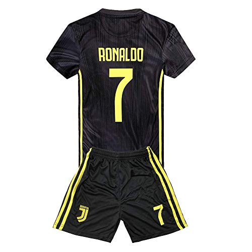 76e3ba44f78cd JRJ 2018-2019 Cristiano Ronaldo 7 T-Shirt CR7 Juventus Homme Maillot &  Enfants,Away Soccer Jersey(8-9ans)