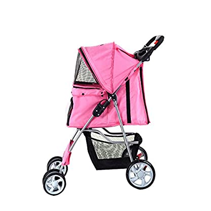 Beshomethings Dog Puppy Cat Pet Travel Stroller Pushchair Pram Jogger Buggy Carrier With 4 Wheels (Pink) 2