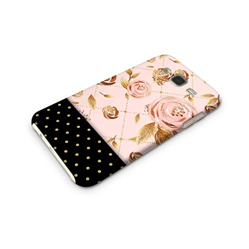 Cover Affair Floral Polka Dots Printed Designer Slim Light Weight Back Cover Case for Samsung Galaxy J7 2015 Edition (Pink & Gold & Black)