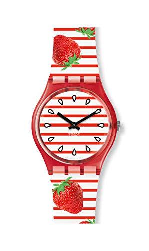Swatch Damen Analog Quarz Uhr mit Silikon Armband GR177