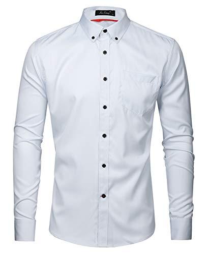Kuson Herren Business Hemd Slim Fit für Freizeit Hochzeit Reine Farbe Hemden Langarmhemd Weiß L