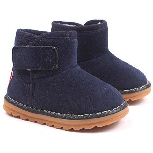 Chaussures Bébé,Fulltime® Bébé garçons Filles hiver épaisseur neige bottes fourrure chaussures Marine