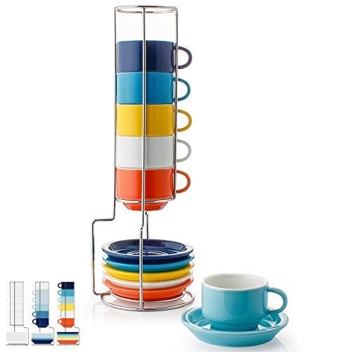 Sweese 4311 6-teilig Stapelbare Espressotassen Set aus Porzellan, Kaffeetassen mit Untertasse und Metall Ständer, Bunte Serie, 75 ml - Espresso-metall