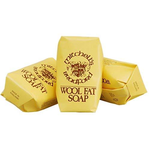 Mitchell's Wool Fat Soap Original Lanolin Hand Soap Set (3 x 75g Bars in Clear Box)